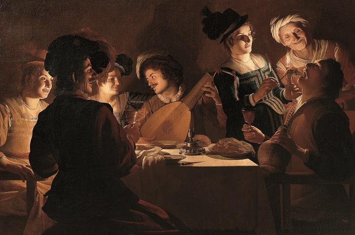 Cena col suonatore di liuto di Gherardo delle Notti